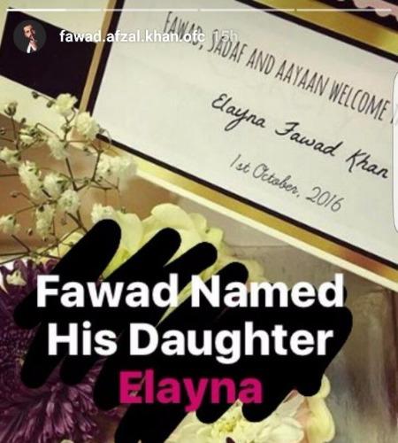 Fawad Khan named his girl child