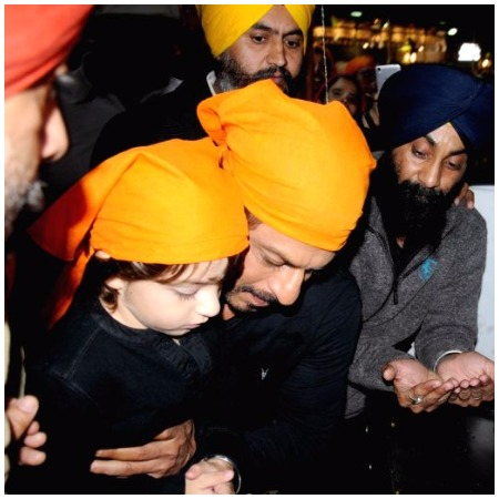 Shah Rukh Khan and His Little Adorable Son AbRam at Golden Temple