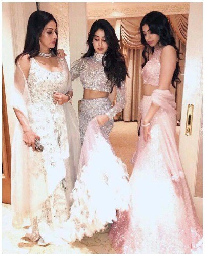 Sridevi Jhanvi Khushi at Akshay Marwah Wedding In Abu Dhabi