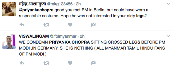 Priyanka Chopra shamed for showing her legs in front of Modi