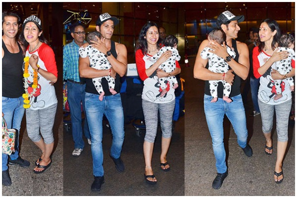 Karanvir Bohra Teejay Sidhu With Twin Daughters Returned India