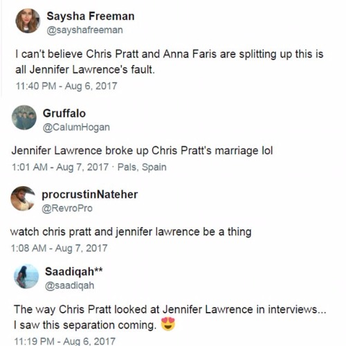 Chris Pratt Anna Faris Jennifer Lawrence