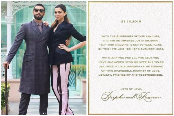 Just In: Ranveer Singh and Deepika Padukone's Wedding ...